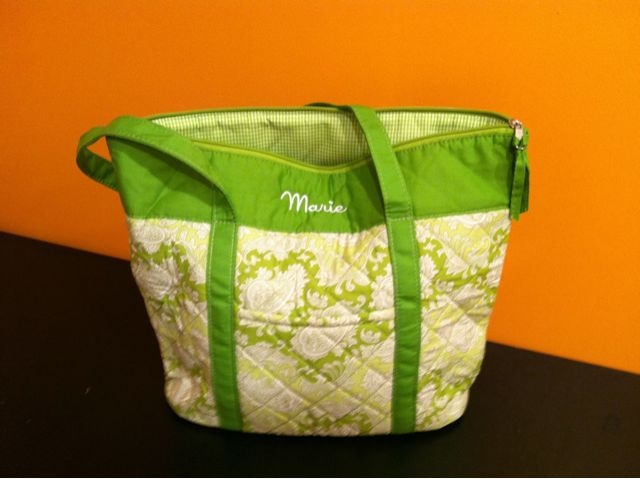 A monogrammed tote for a new mom.