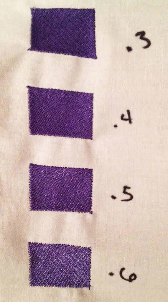 test stitching different stitch densities for machine embroidery