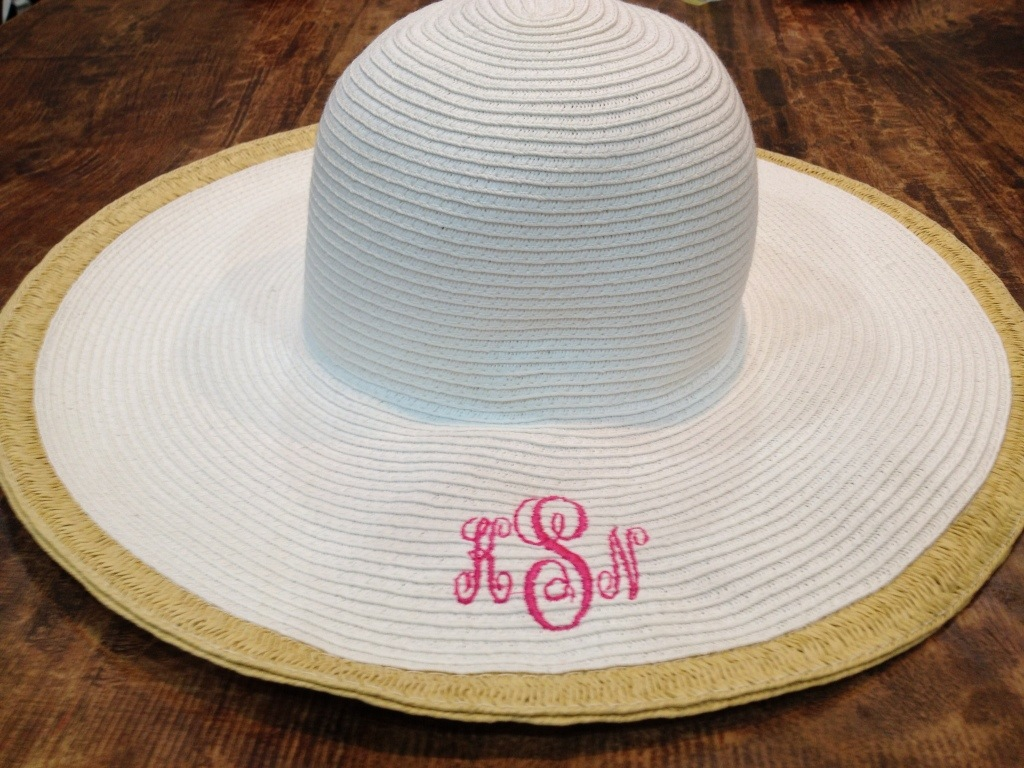 straw hat with monogram