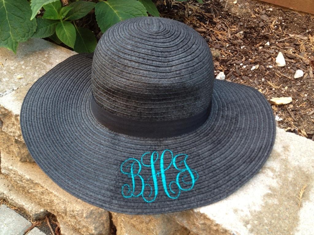 monogrammed straw hat