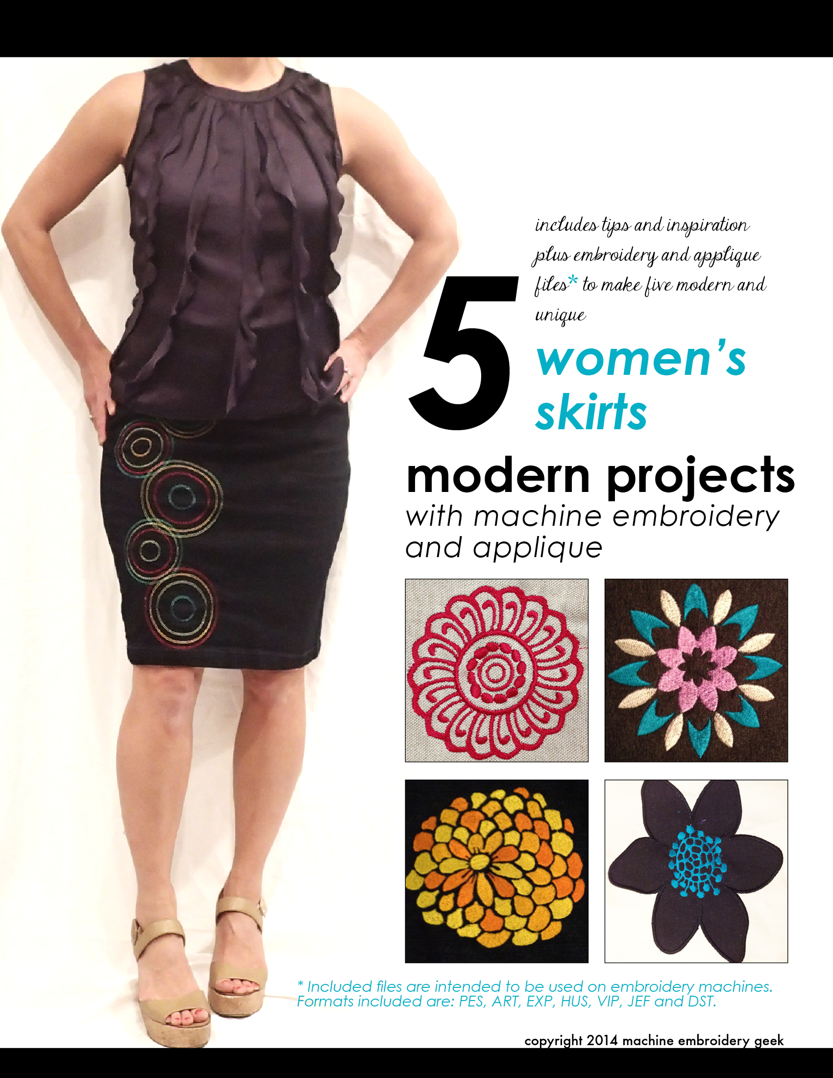 Inspiration and embroidery files to make 5 great skirts