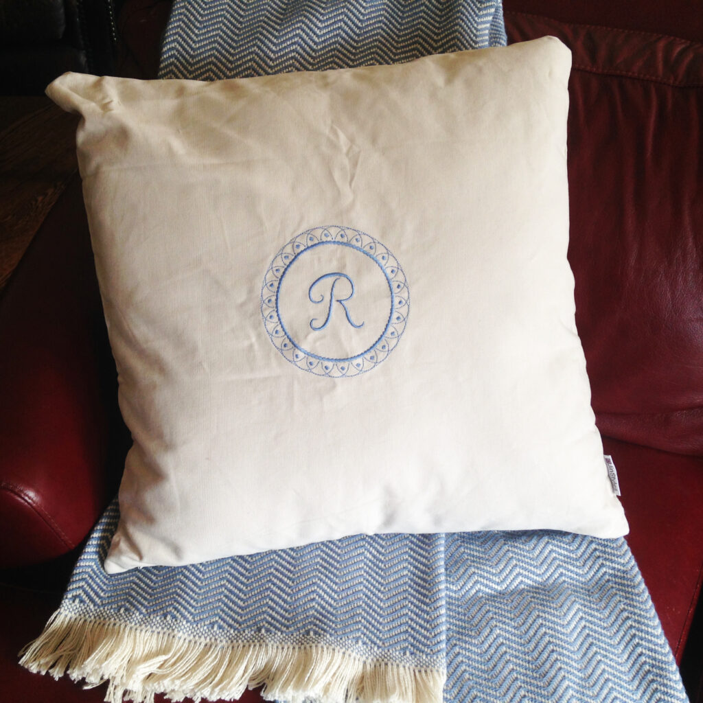 monogrammed pillow that matches throw