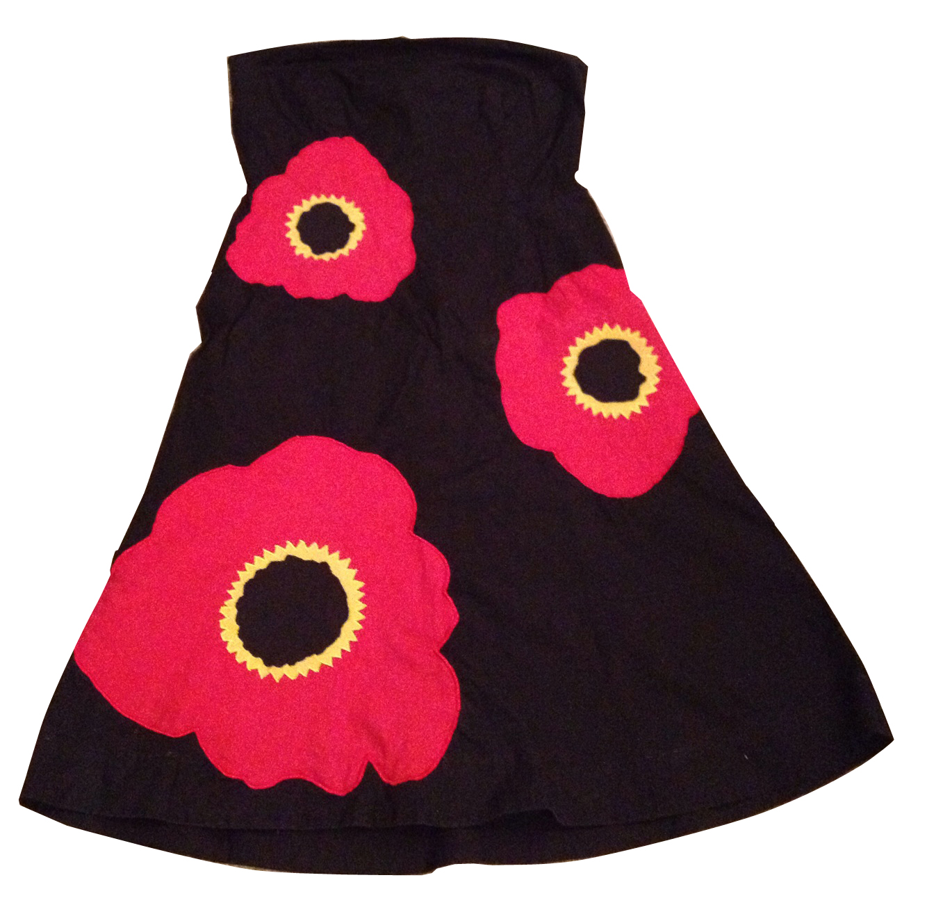 poppy appliqué dress