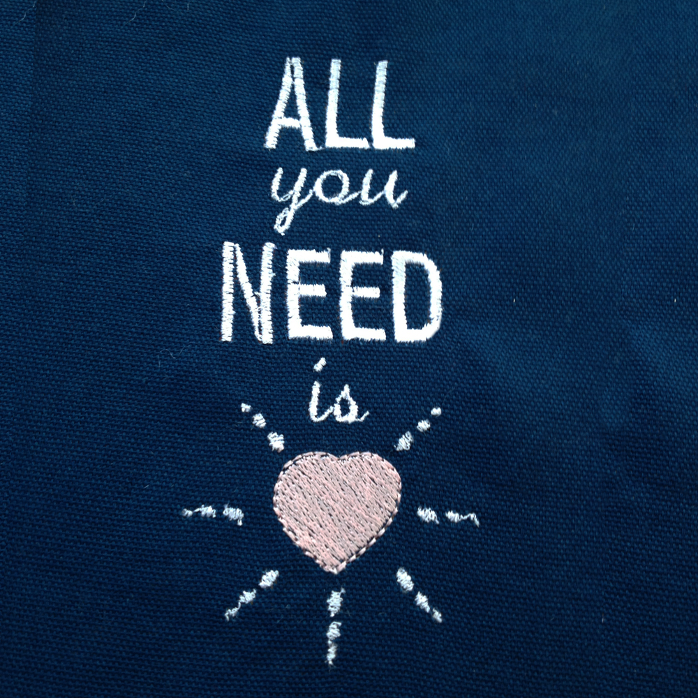 Darling All You Need Is Love Machine Embroidery Design In 4 Sizes