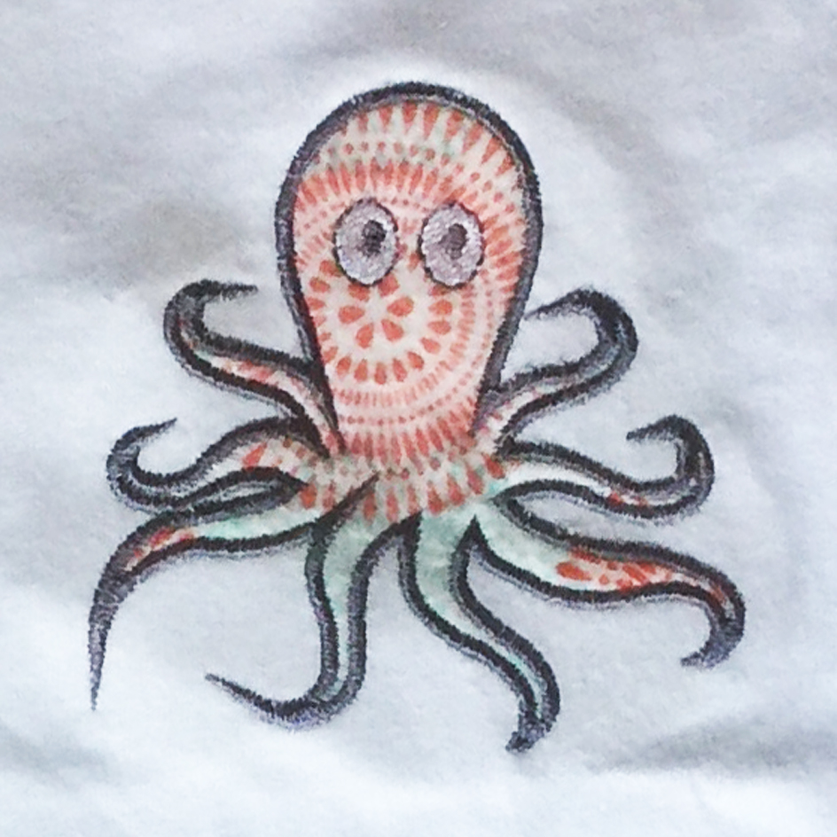 Embroidery Octopus Big bow Octopus girl Sea Animal Machine Embroidery Applique for girls AN0316