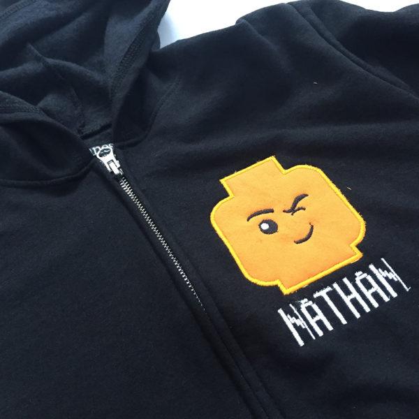 lego applique with Amazon Prime hoodie
