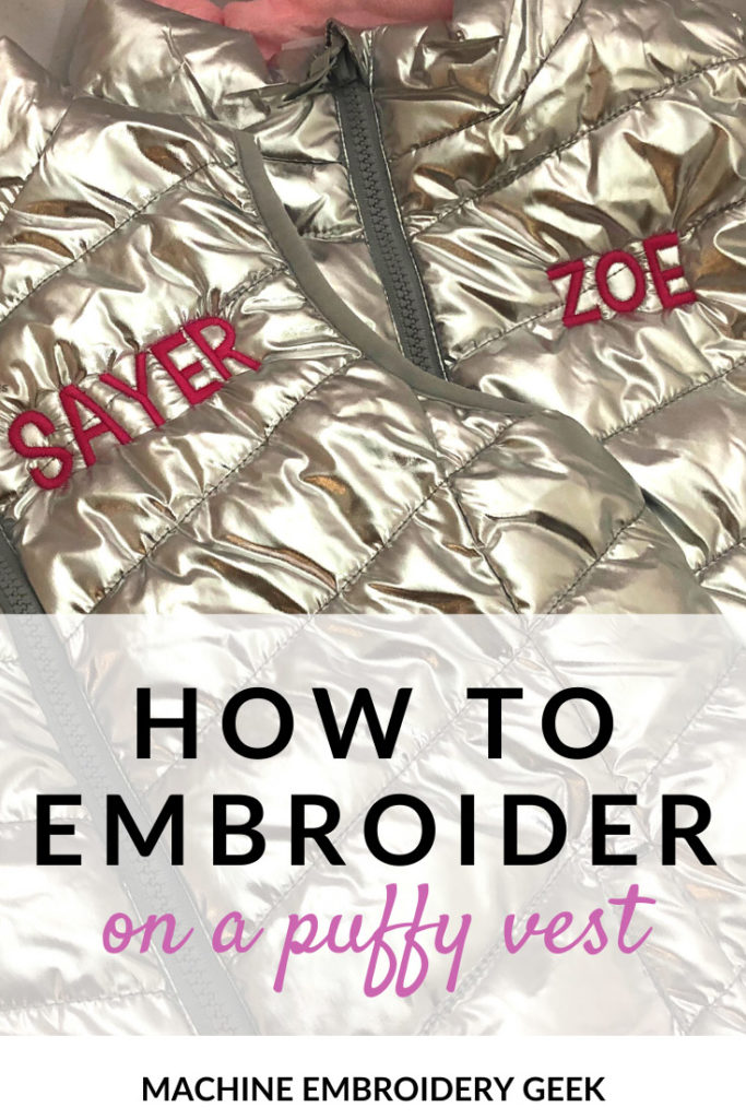 how to embroider on a puffy vest