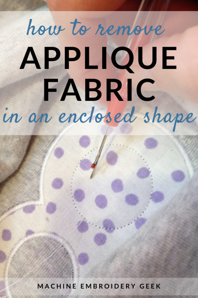 how to remove fabric in an enclosed shape using applique scissors