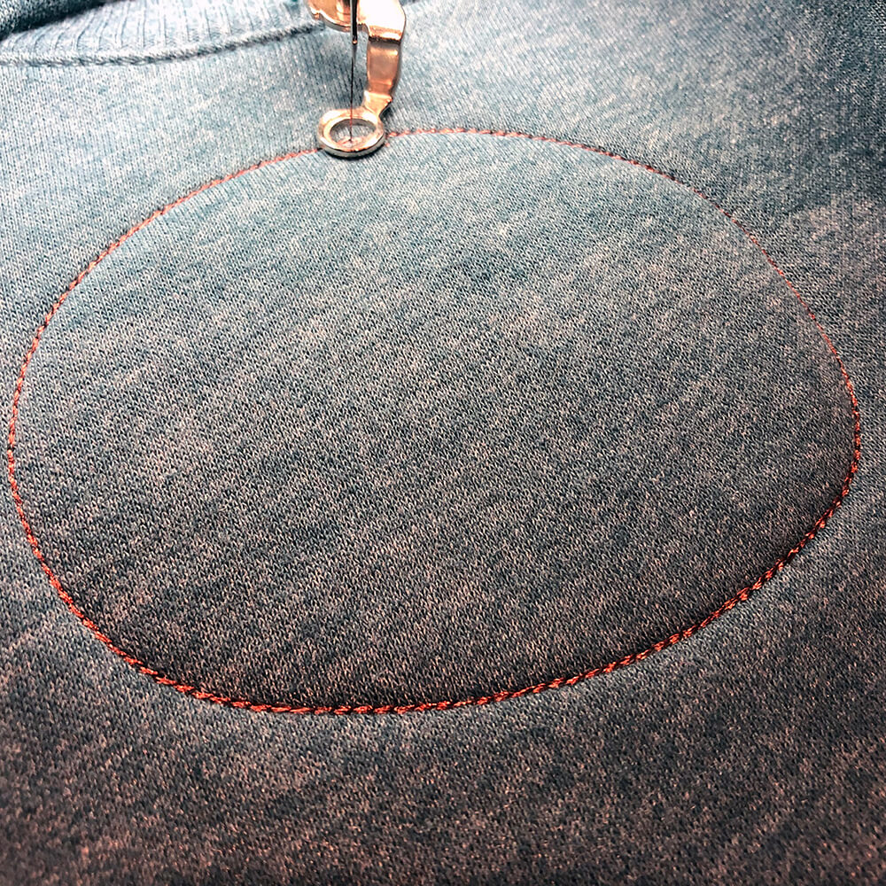 The placement stitching shows you where to lay the appliqué fabric