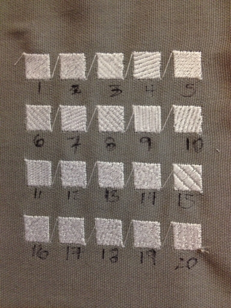 Different embroidery fill stitches