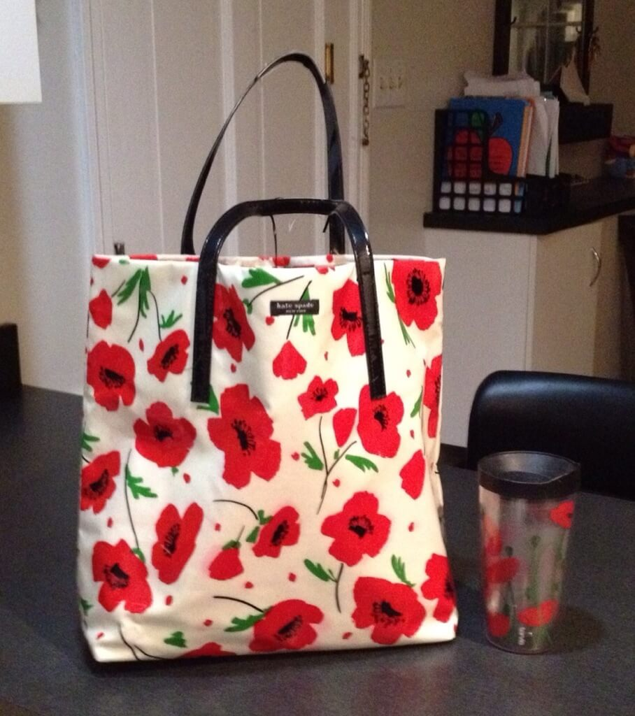 poppy bag and coffee cup