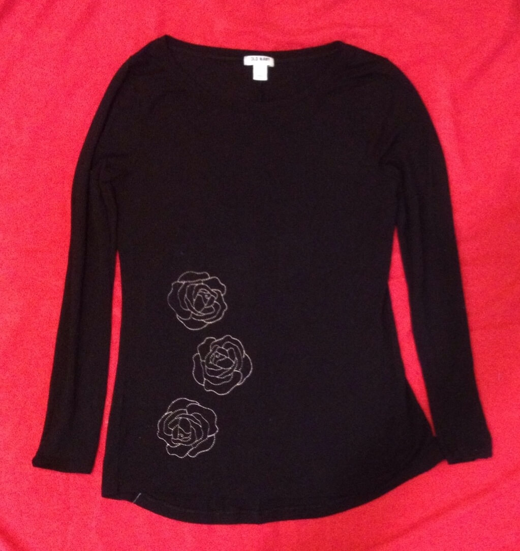 rose applique shirt
