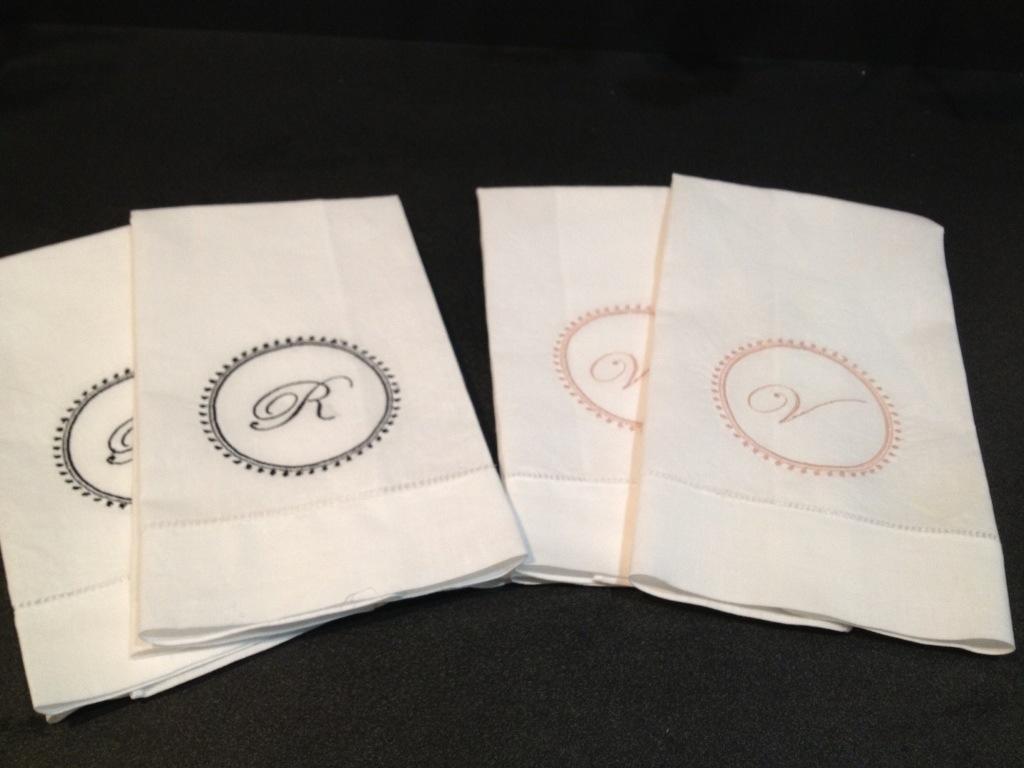 monogrammed linen towels