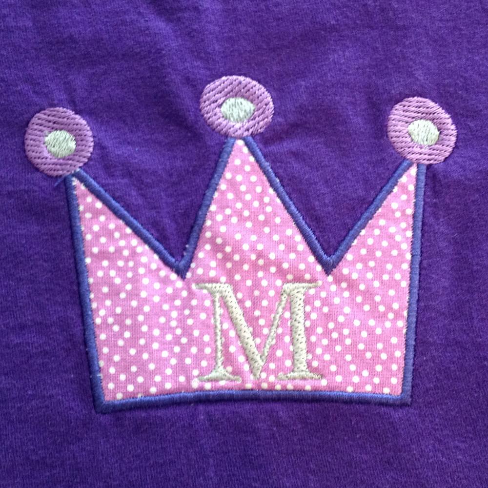 birthday crown appliqué