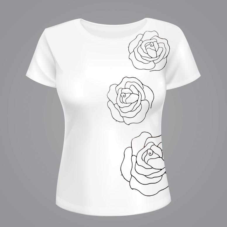 rose t-shirt applique