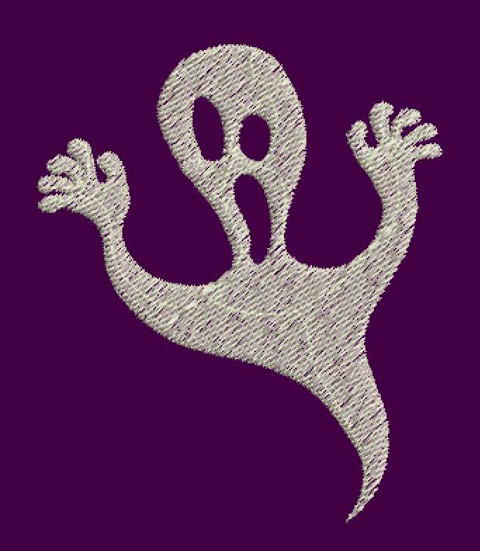 free ghost embroidery design