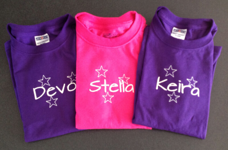 personalized t-shirts make a great party favor