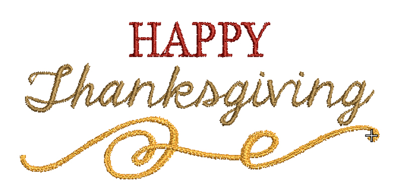 Happy Thanksgiving free embroidery design
