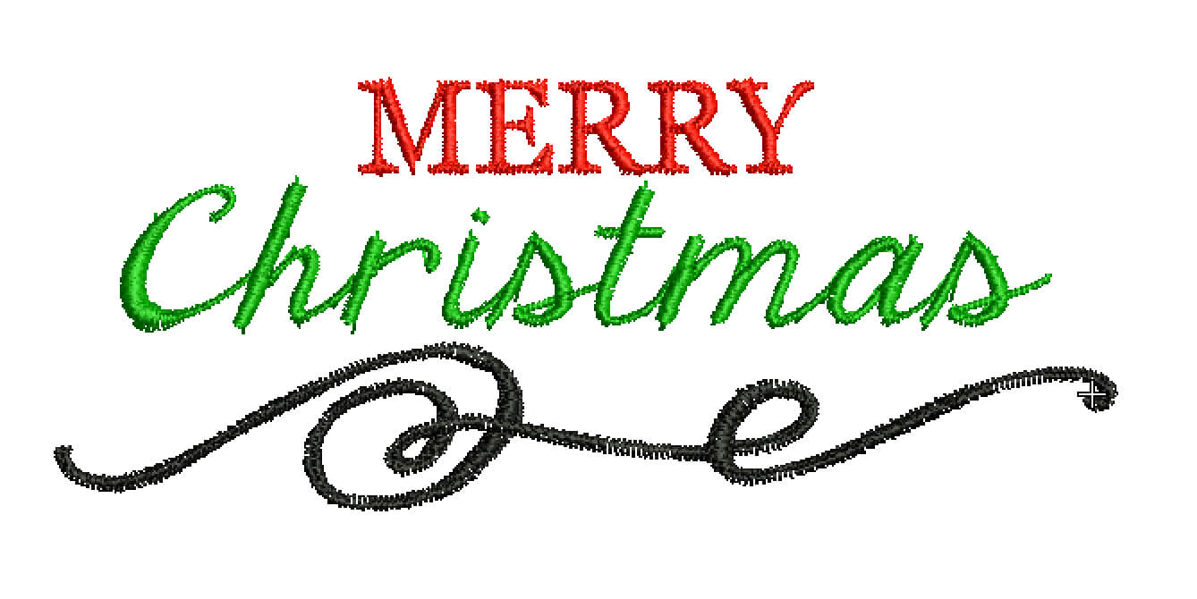 Merry Christmas free machine embroidery design
