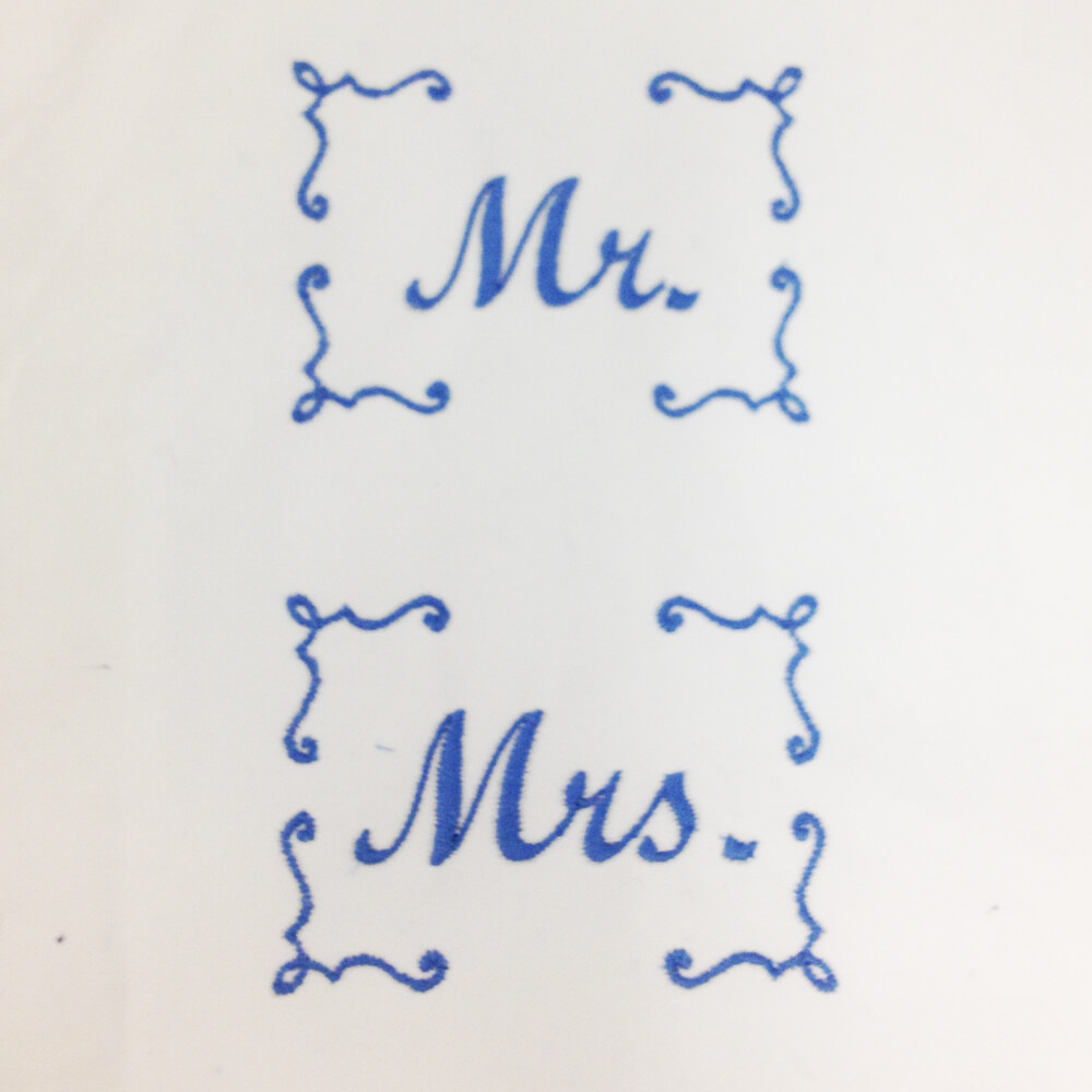Mr and Mrs Machine Embroidery Design on a pillow case