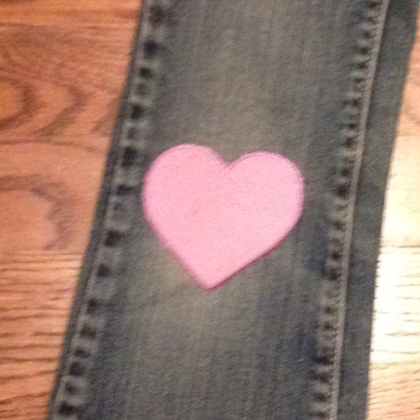 heart patch on jeans