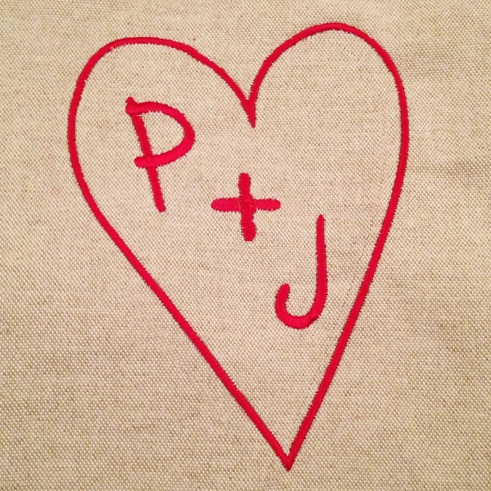initials in heart embroidery design