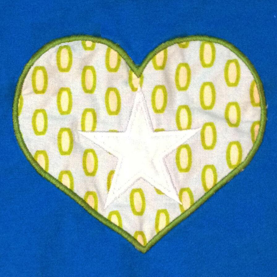 star in heart applique design