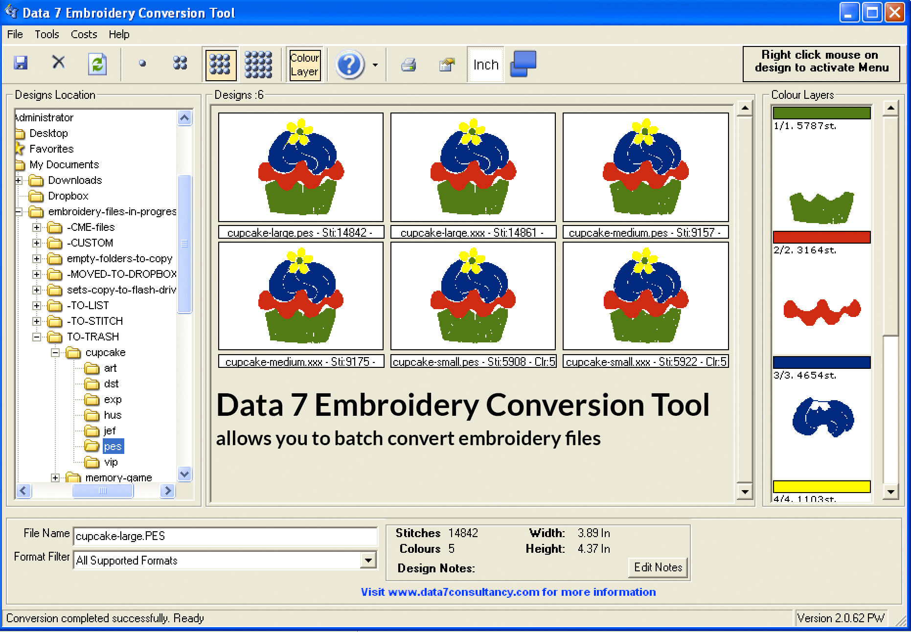 Data 7 Conversion Software allows you to convert embroidery files