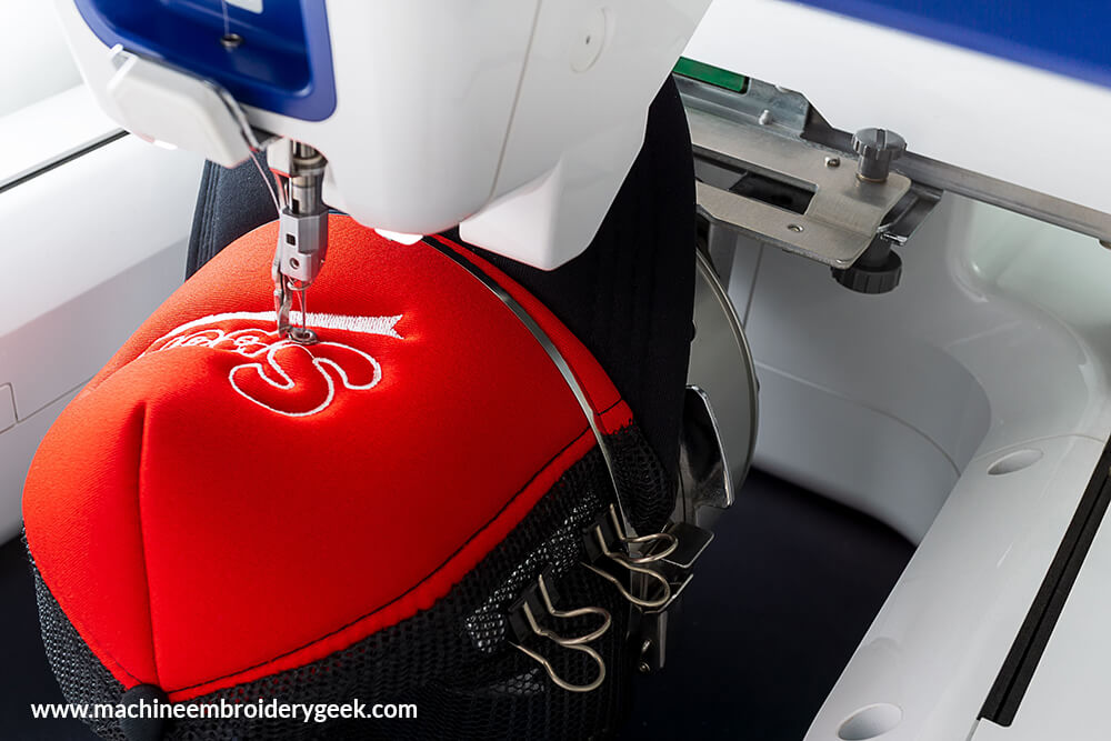 embroidering a hat