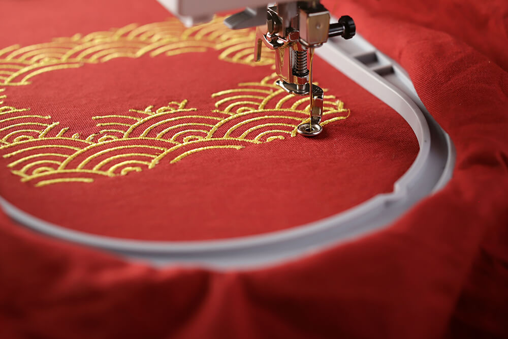 hooped fabric - machine embroidery