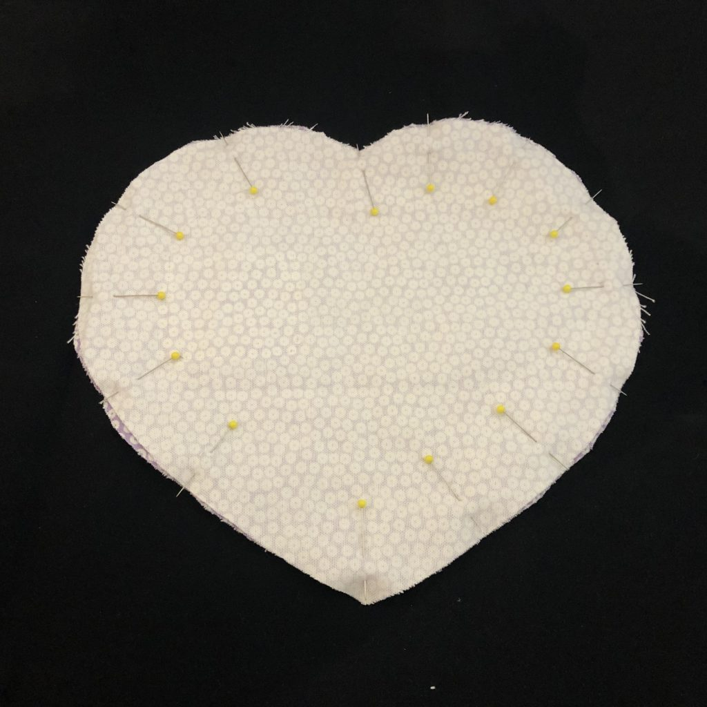 pinning front to back - tooth fairy pillow