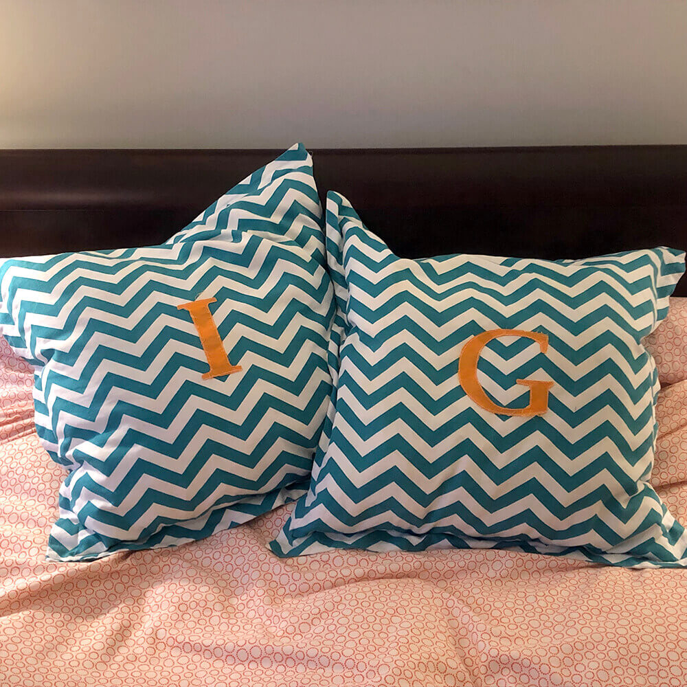 applique pillows make a great gift for a teen