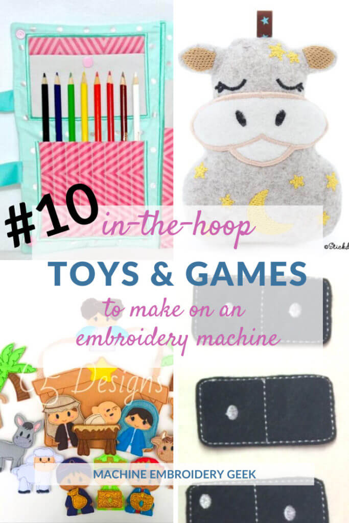 in-the-hoop toys and games to make on an embroidery machine