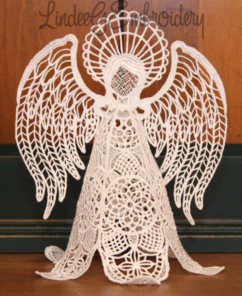 free standing lace angel tree topper