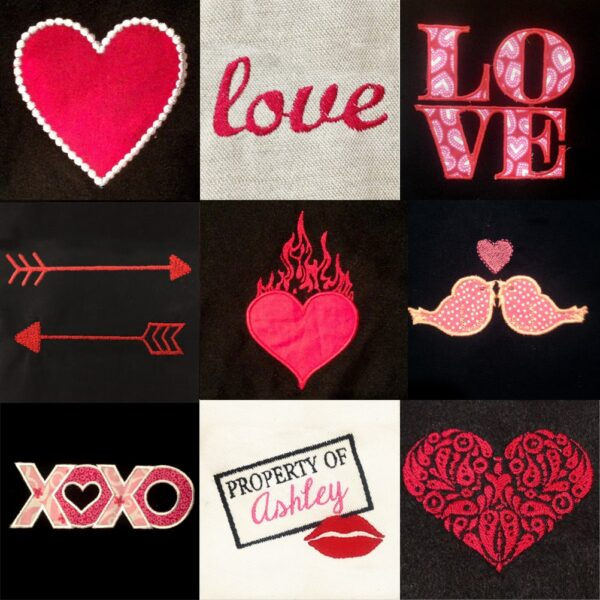 Valentines Day embroidery and applique designs