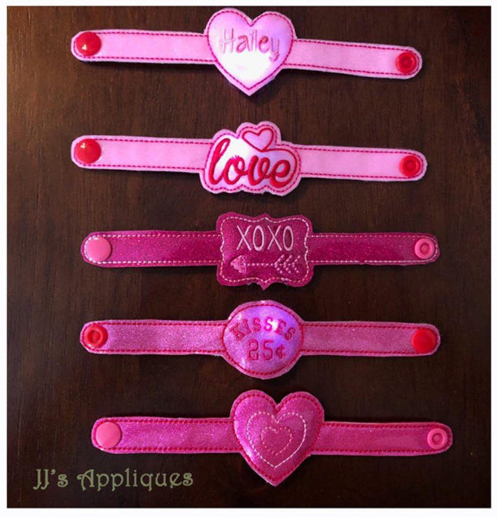 In-the-hoop Valentine flashing bracelets