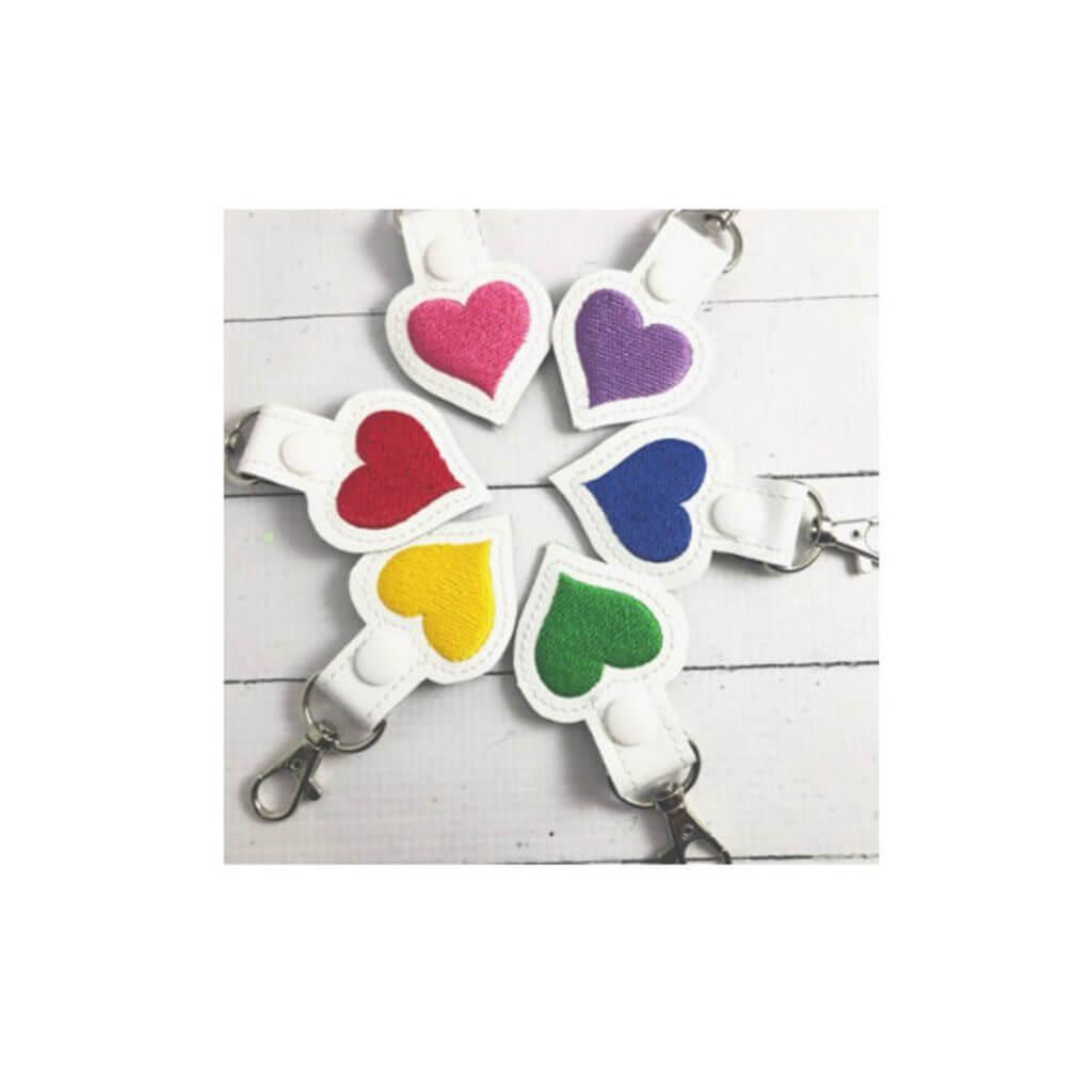 In-the-hoop heart keychain