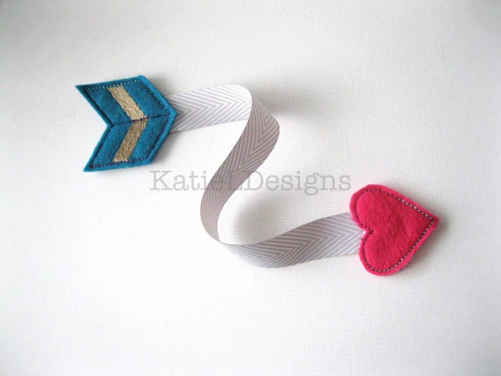 In the hoop Valentine heart arrow bookmark