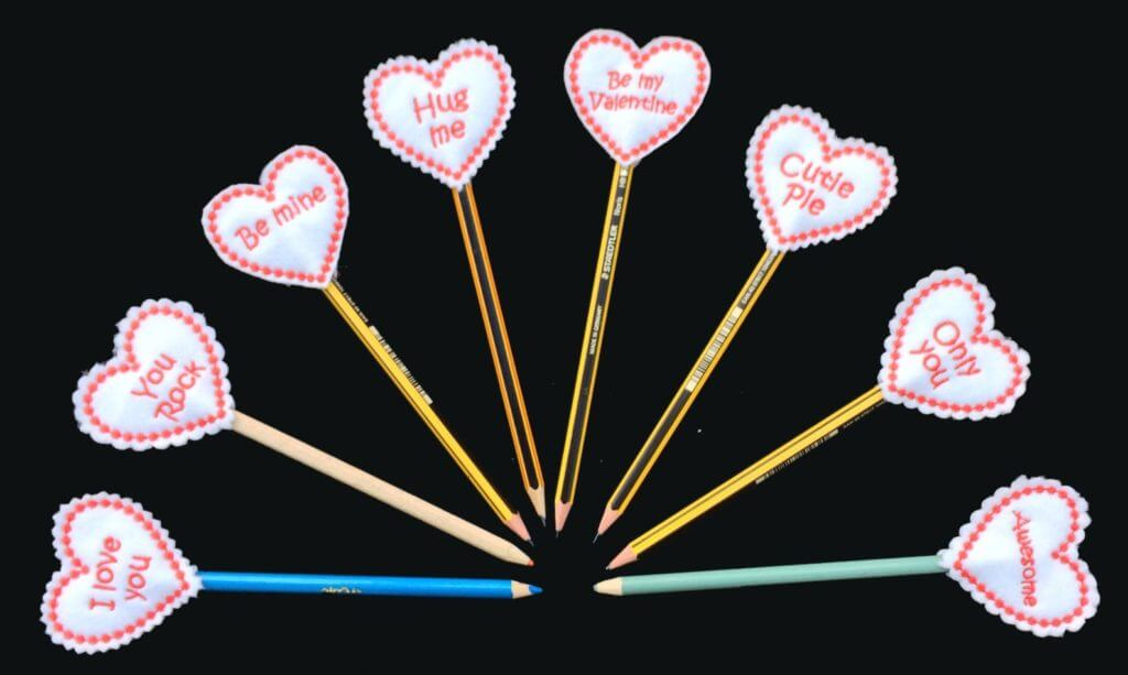 In-the-hoop conversation hearts Valentine pencil topper
