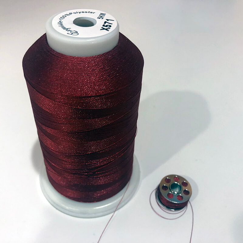 red embroidery thread