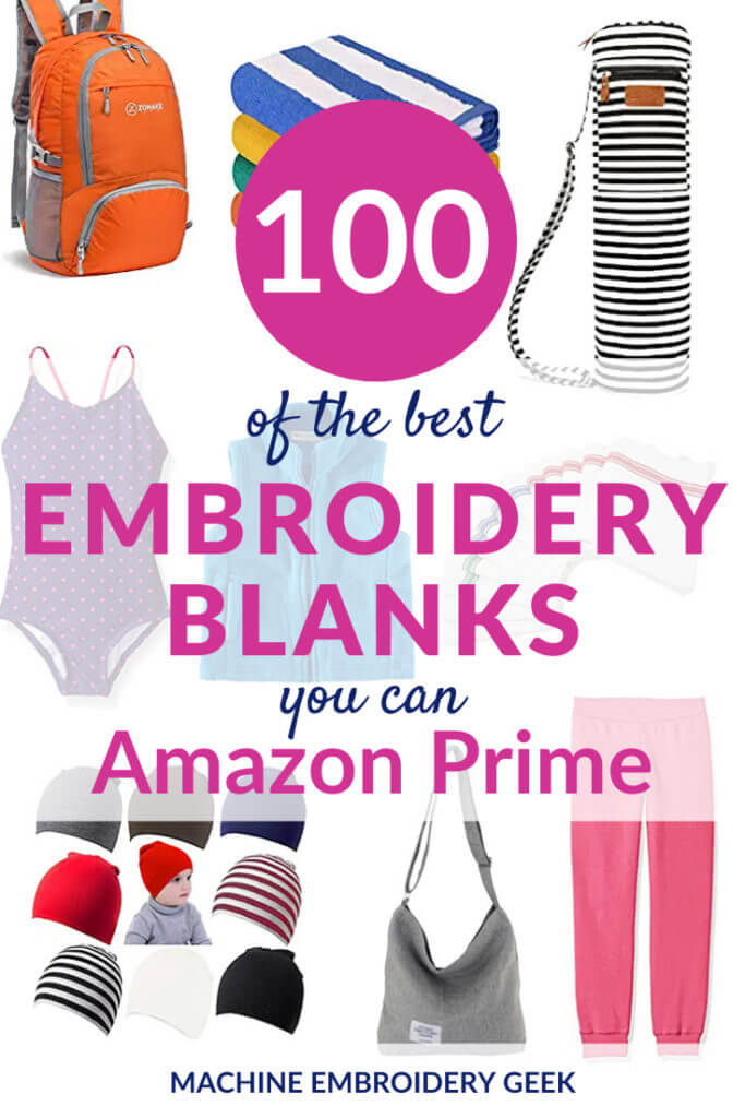 100 Embroidery blanks you can Amazon Prime