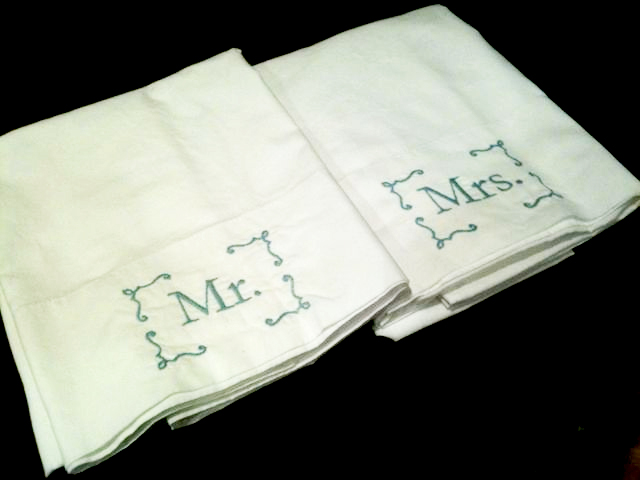Mr and Mrs embroidered pillowcases