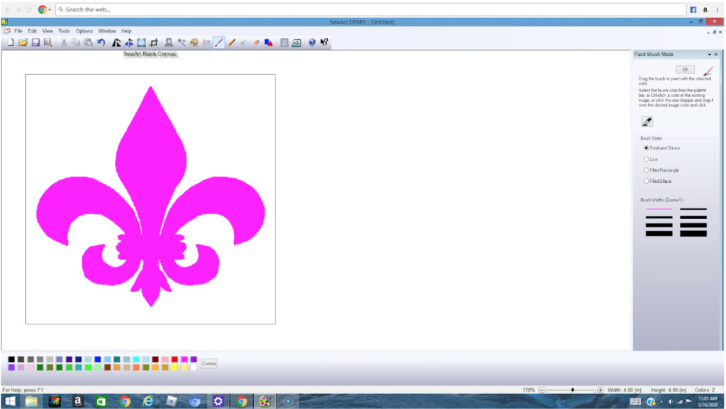 SewArt embroidery digitizing software allows you to edit art and then turn it into a stitch file
