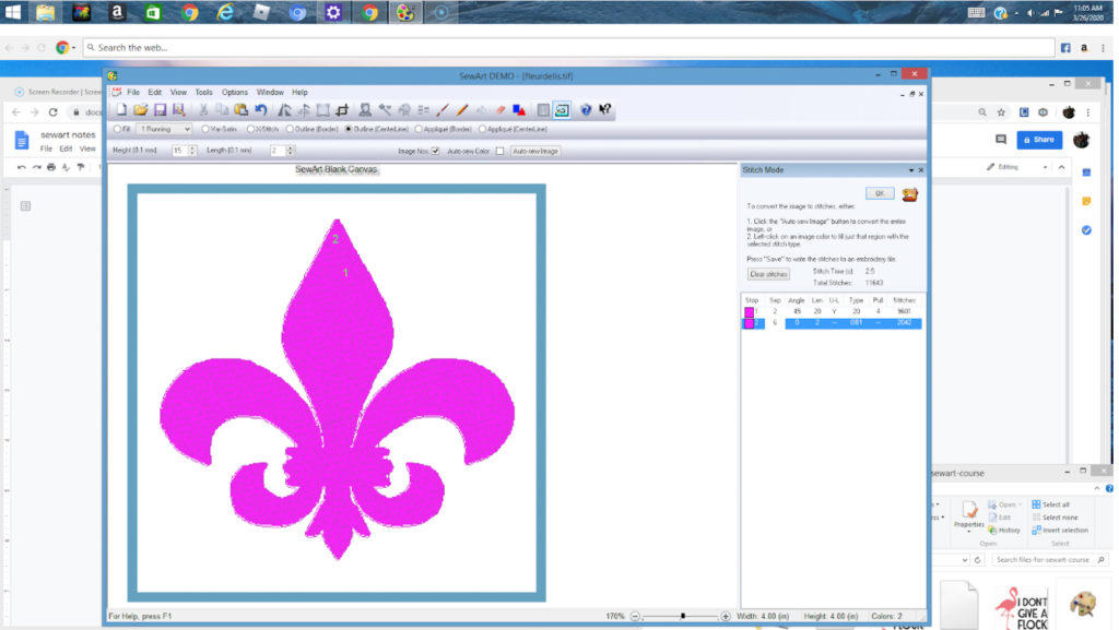 SewArt allows you to specify how you would like the embroidery design to stitch out