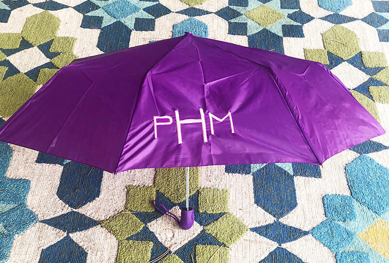 completed monogrammed umbrella