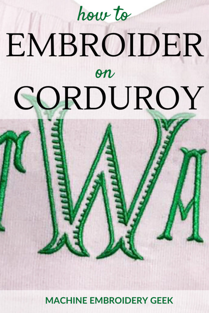 how to embroider on corduroy