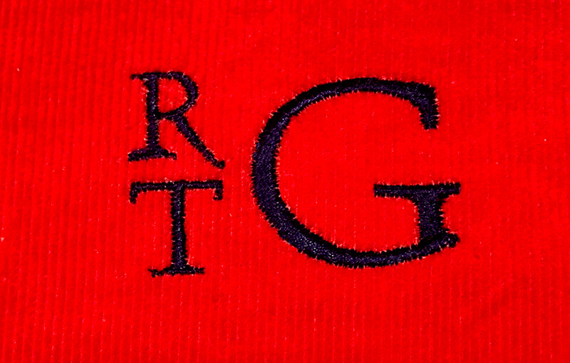 monogram on corduroy