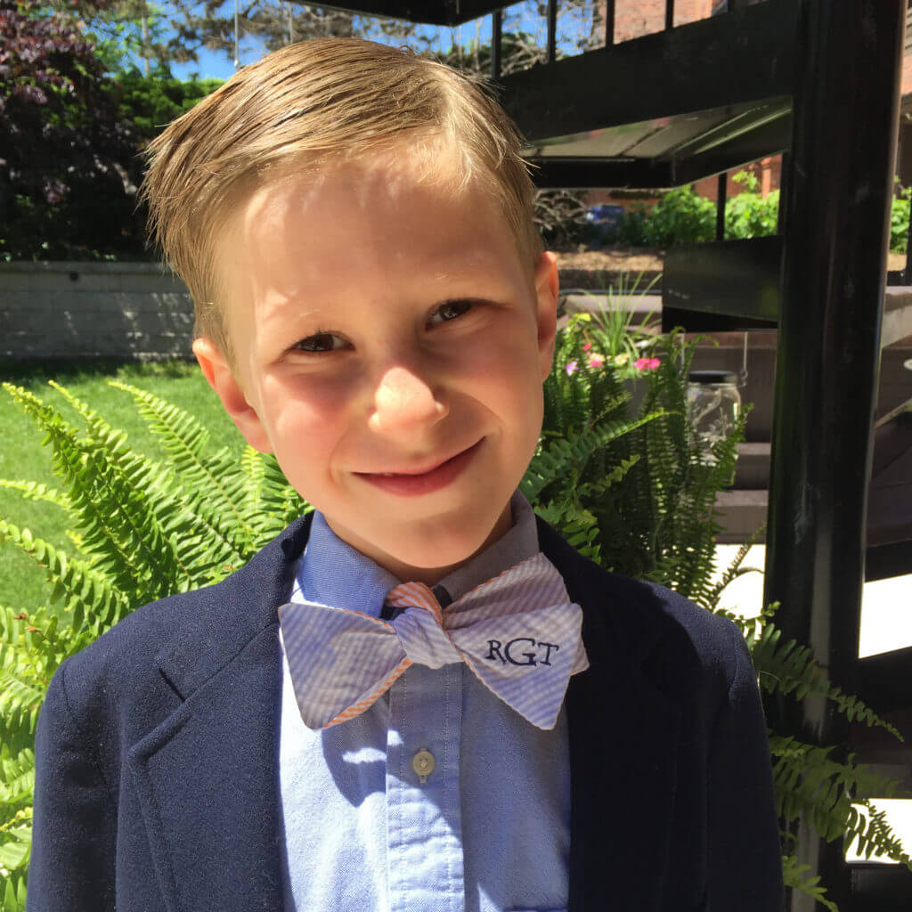 Thomas in monogrammed bow tie