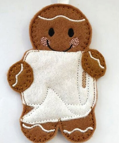 Gingerbread feltie available on Memories in Thread