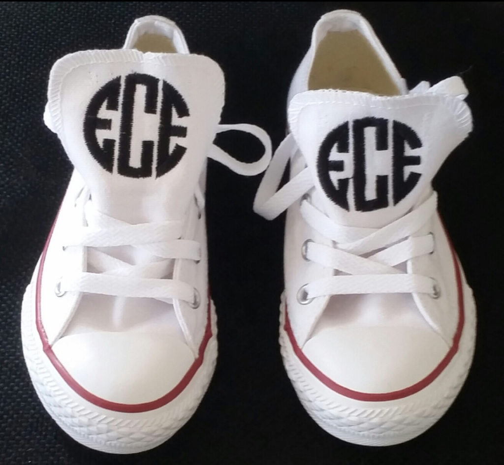 Monogrammed sneakers with a classic circle monogram